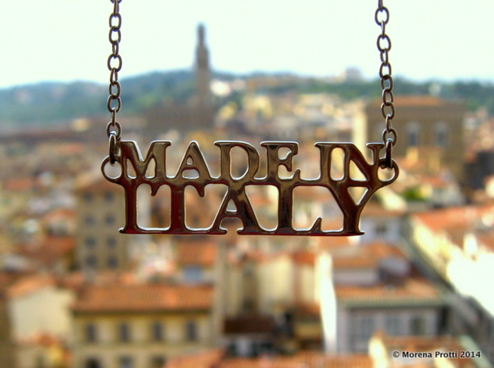Made in ITALY Pendant 3d printed Premium Silver (high contrast light condition. Same material as in the other live photos). The pendant is sold alone.