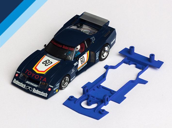 1/32 MRRC Toyota Celica Chassis for slot.it pod 3d printed Chassis compatible with MRRC Toyota Celica LB Turbo body (not included)