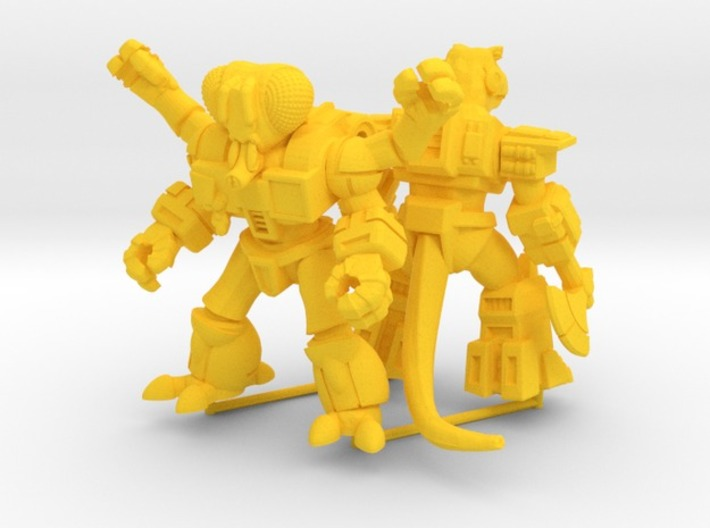 MiniCreatures: Atomic Allosaur Vs Fetid Fly 3d printed Yellow Strong & Flexible Render, opposite view