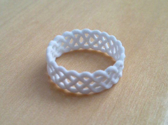 Celtic Ring - 16mm ⌀ 3d printed Celtic Ring in White Strong & Flexible
