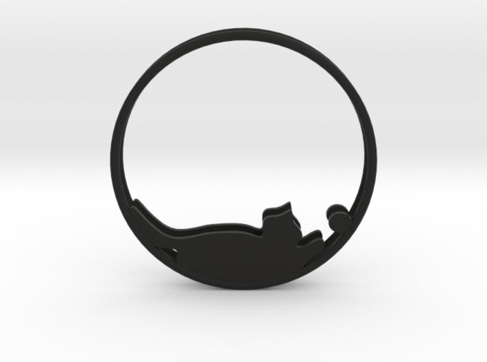 Cat Playing Ball Hoop Earrings 40mm 3d printed