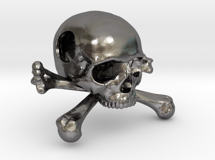 25mm 1in Bead Skull & Bones Pendant Crane 3d printed