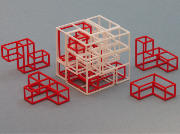 """SOMA's Revenge"" - Interlocking Puzzle Cube 3d printed Cube Example 1 with 3 Interlocked Inner parts"