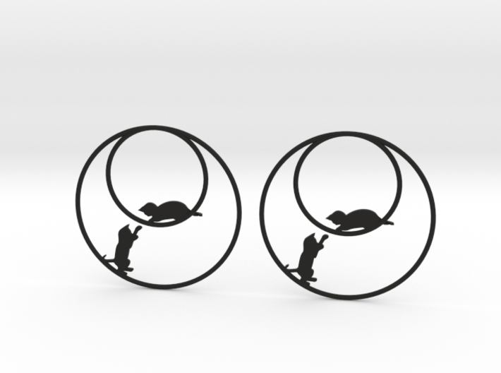 Playing Cats Hoop Earrings 50mm 3d printed