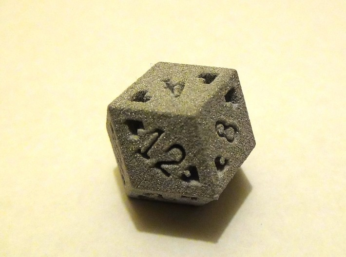 Rhombic 12 Sided Die - Regular 3d printed Rhombic 12 Sided Die in Alumide