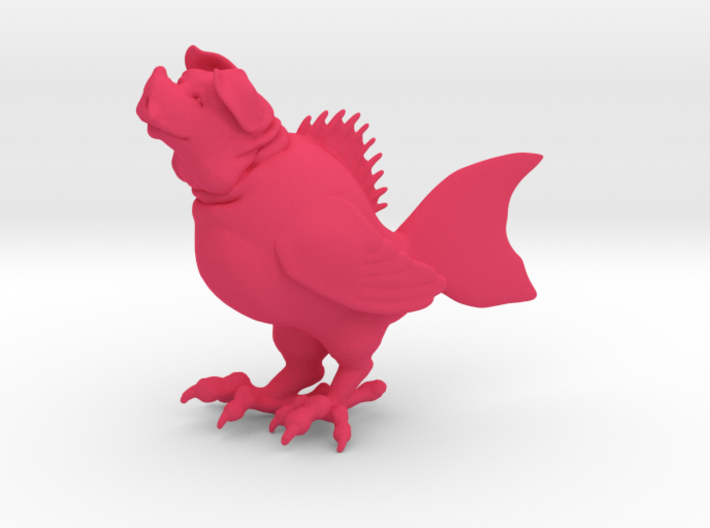 "Pig Fish Bird (3"" tall) 3d printed"