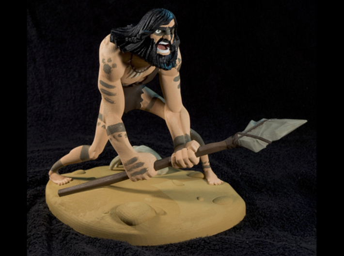 TheCaveman (Large) 3d printed This is the result after hand painting it with Revell Aqua Paints. Not available as a painted piece.