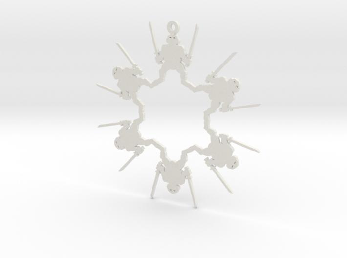 Snowflake Leonardo Ninja Turtle Ornament  3d printed