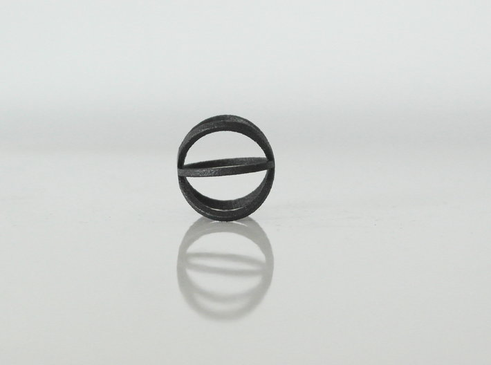 atom ring - size 7 - steel 3d printed
