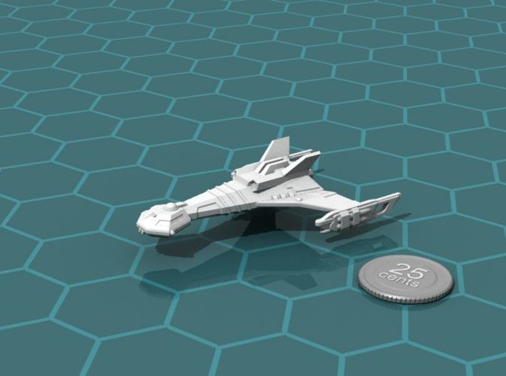 Ngaksu Hurricane 3d printed Render of the model, with a virtual quarter for scale.