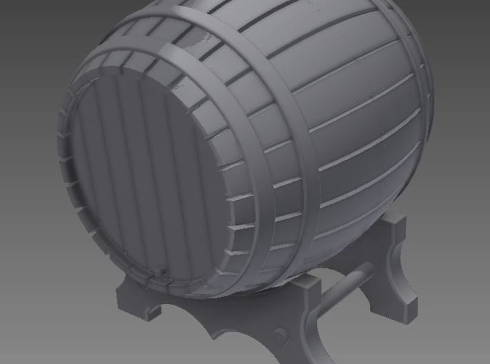 1/72nd (20 mm) scale wooden barrel 3d printed Rendered photo.