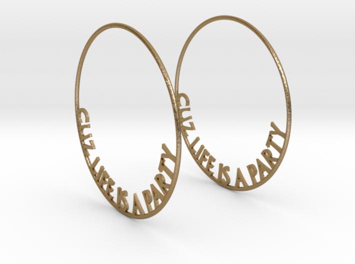 Cuz Life Is A Party Big Hoop Earrings 60mm 3d printed