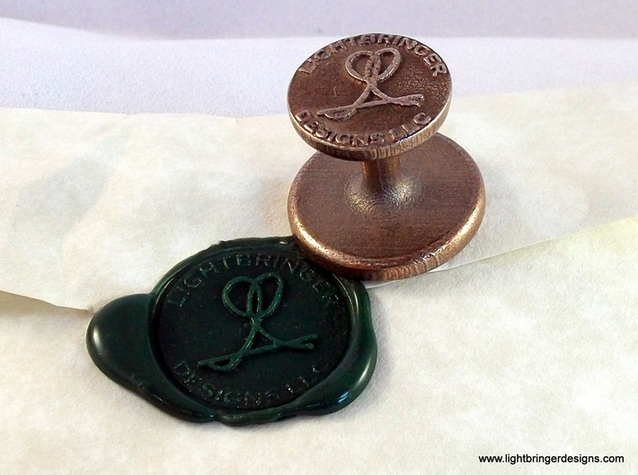 """Custom Wax Seal 1"""" 3d printed This is the seal I use for my own business. Due to changes at Shapeways, small text around the perimeter now requires one of the cast materials, bronze is recommended."""