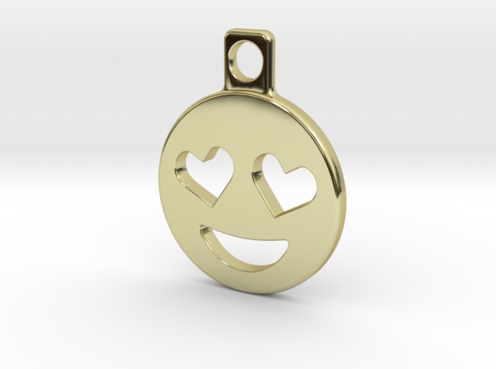 Heart Eyes Emoji Keychain 3d printed