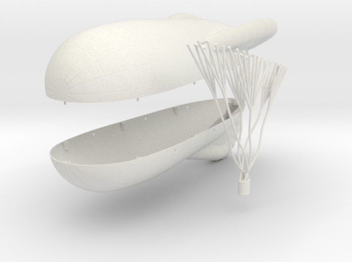 Caquot Type M Observation Balloon 3d printed 1:144 two-hemisphere Caquot balloon in WSF