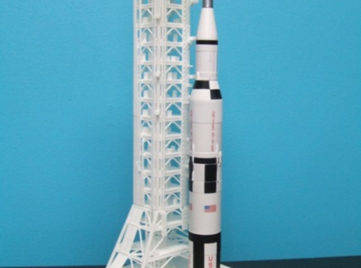 1/400 NASA LUT levels 3-7 (Launch Umbilical Tower) 3d printed A customers unfinished model with Saturn V & MLP.