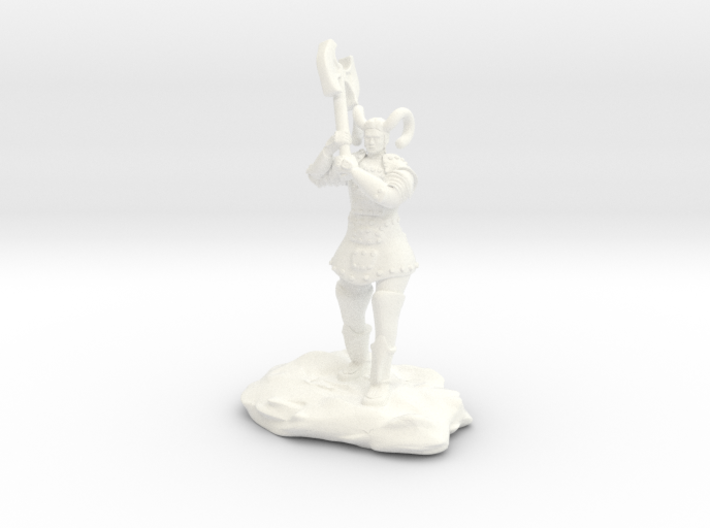 Tiefling Paladin Mini in Plate with Great Axe 3d printed