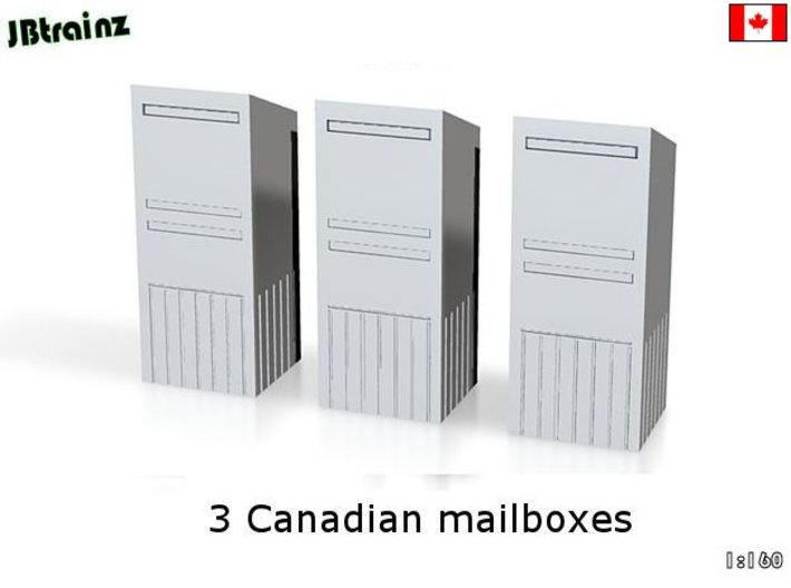 3 Canadian Mailboxes (1:160) 3d printed