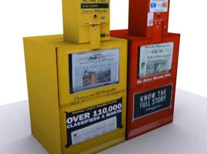 3 Newspaper vending machines (1:160) 3d printed
