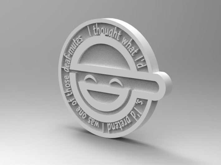 laughing man pin 3d printed