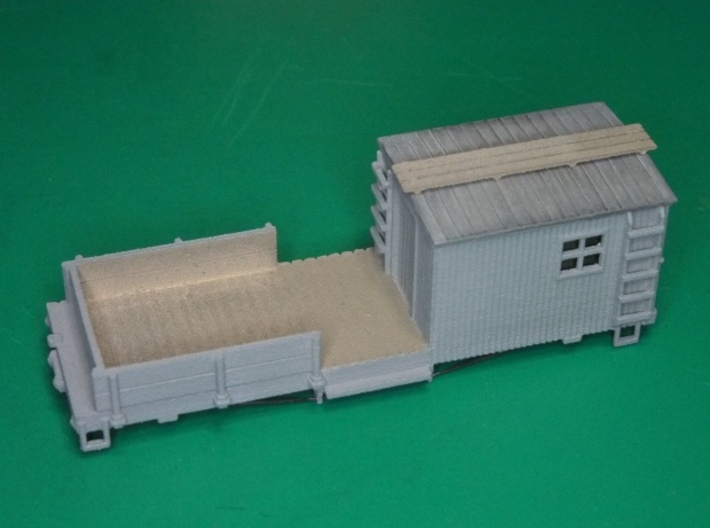 HOn30 Work Car (MOW type C) 3d printed A painted model, with a roof made from styrene sheet