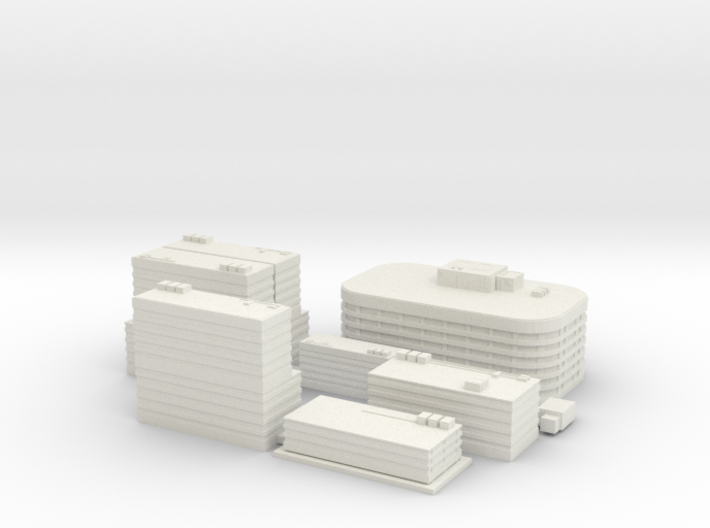 City Building Set (8 in 1) - 1 piece version 3d printed