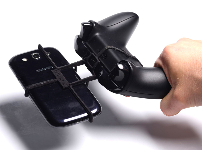 Xbox One controller & LG L Bello 3d printed In hand - A Samsung Galaxy S3 and a black Xbox One controller