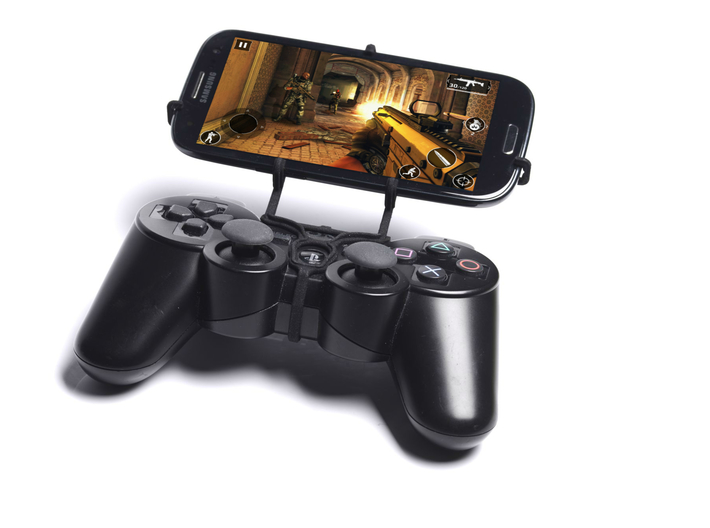 PS3 controller & Plum Sync 3d printed Front View - A Samsung Galaxy S3 and a black PS3 controller