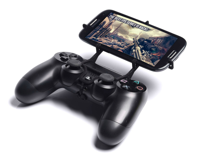 PS4 controller & Cat B15 3d printed Front View - A Samsung Galaxy S3 and a black PS4 controller