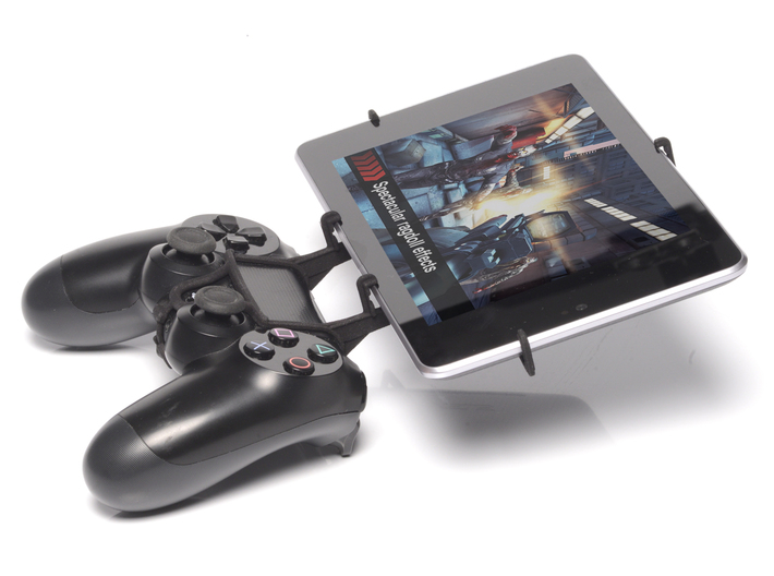 PS4 controller & Samsung Galaxy Tab Active 3d printed Side View - A Nexus 7 and a black PS4 controller