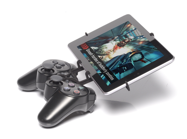 PS3 controller & HP Slate 7 3d printed Side View - A Nexus 7 and a black PS3 controller
