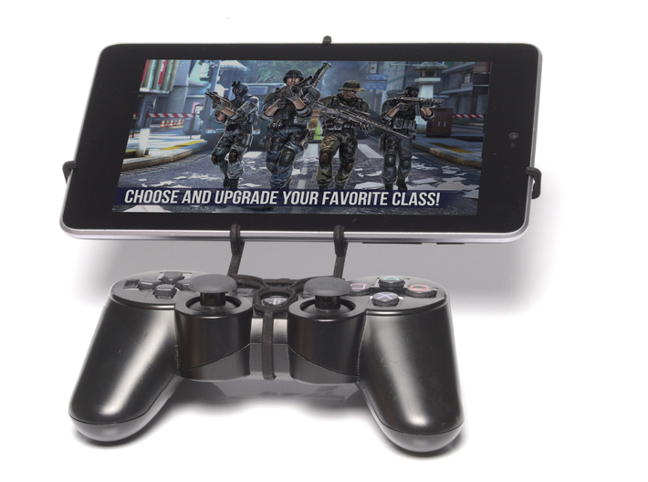 PS3 controller & Plum Z708 3d printed Front View - A Nexus 7 and a black PS3 controller