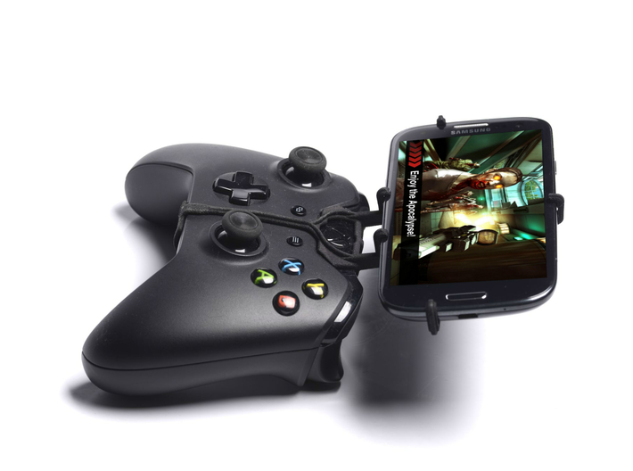 Xbox One controller & Cat B15 3d printed Side View - A Samsung Galaxy S3 and a black Xbox One controller