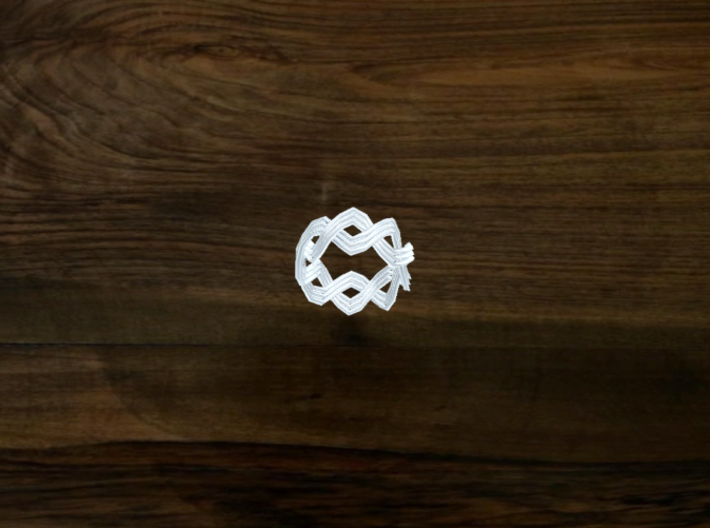 Turk's Head Knot Ring 2 Part X 8 Bight - Size 0 3d printed