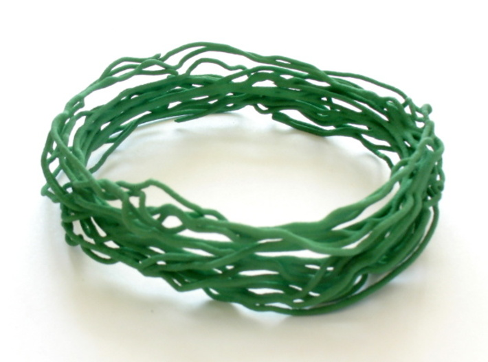 Turbulent Bangle 2 3d printed Bangle printed in green strong and flexible