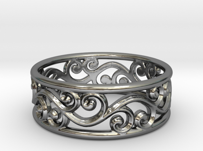 Hollow swirls ring size 7 3d printed