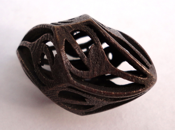 Twisty Spindle Die10 3d printed In Polished Bronze Steel