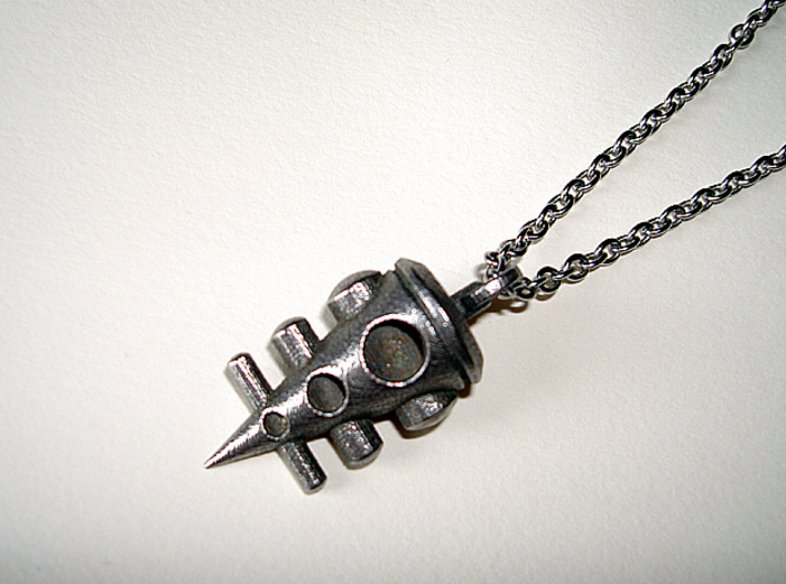 3 Pin Pendant 3d printed Stainless Steel - Photo of an actual item (chain not included)