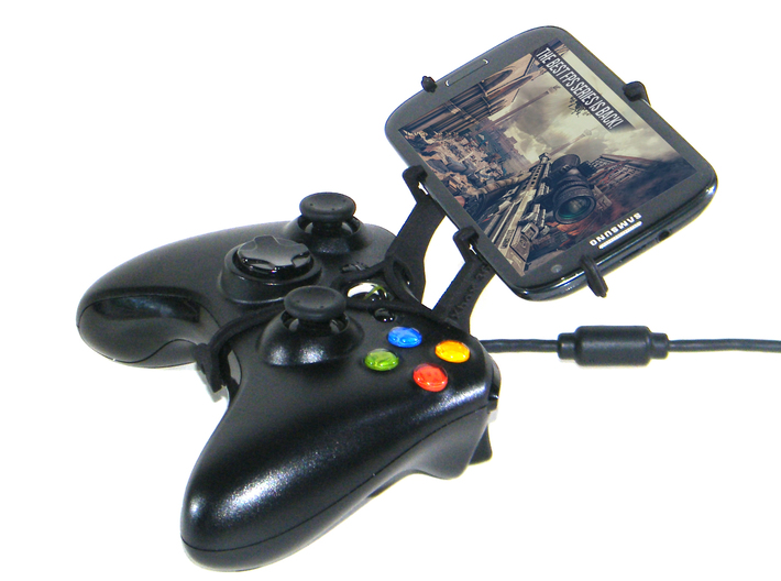 Xbox 360 controller & Nokia Asha 230 3d printed Side View - A Samsung Galaxy S3 and a black Xbox 360 controller