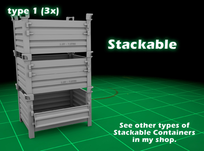Stackable Container Type1 (3x) 3d printed Container type 1 - 3-pack - stackable