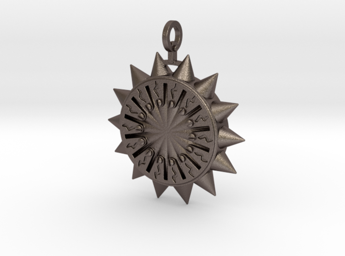 Steampunk Spiked Sun Pendant 3d printed