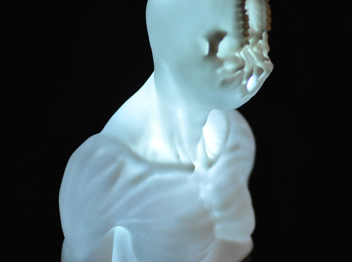 unSeen_Brother (left) 3d printed Unseen Brother_L- lit from within (photo)
