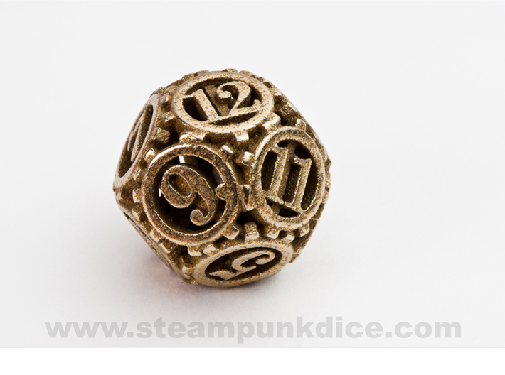 Steampunk Gear d12 3d printed Stainless Steel
