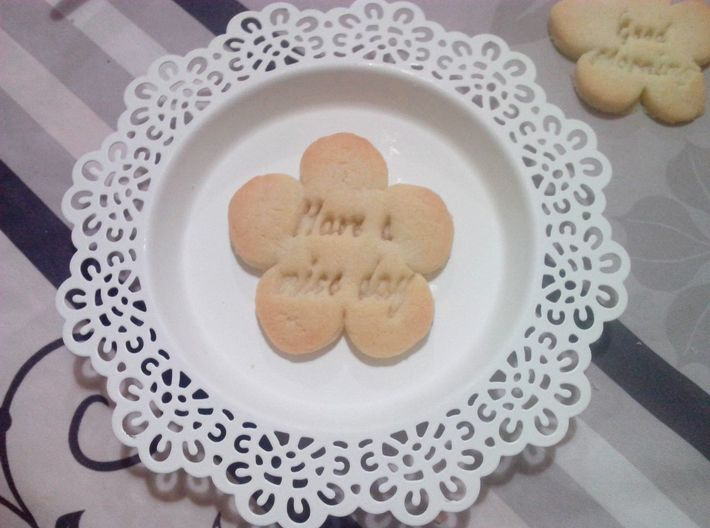Have a nice day Flower - Cookie cutter 3d printed Baked cookie