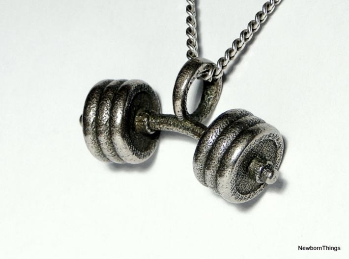 Pendant V8 - Dumbbell bent 3d printed Dumbbell Pendant in Stainless Steel