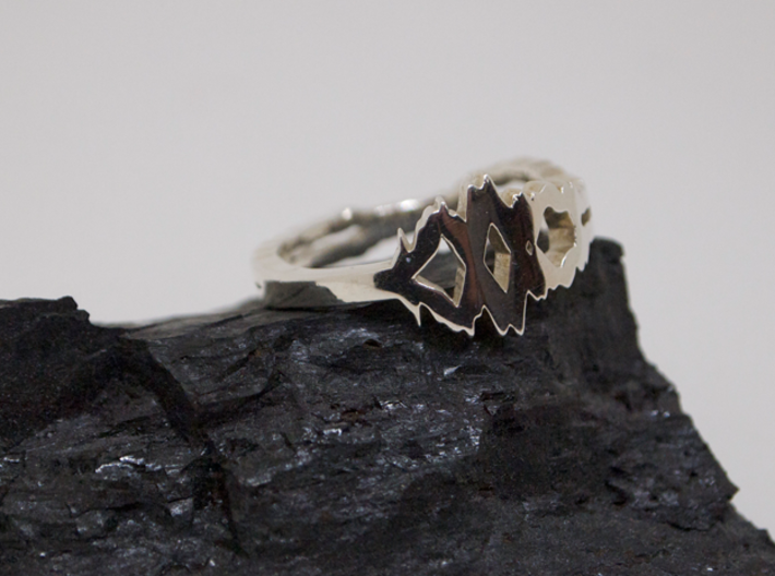 """""""I Love You"""" Sound Wave Ring 3d printed Sound Wave Ring in Premium Silver"""