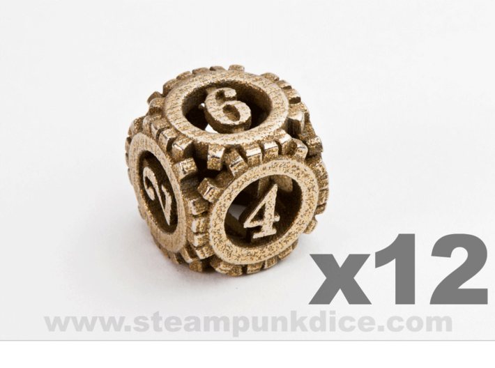 Steampunk Gear 12d6 Set 3d printed Stainless Steel