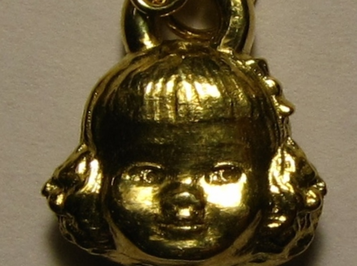 Chatty Cathy Earring or charm 3d printed Actual Photo of front view of Polished Brass