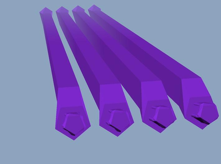 4 long purple struts 3d printed