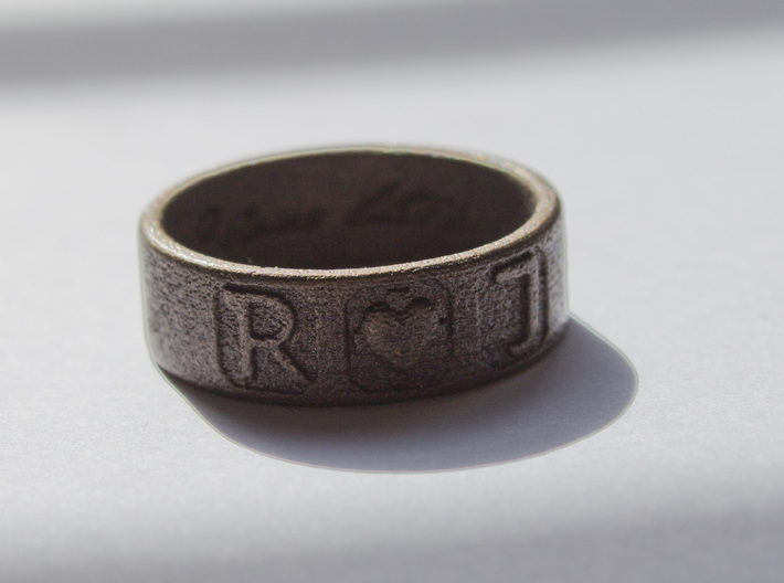 R + J Ring 3d printed Antique Bronze Matte
